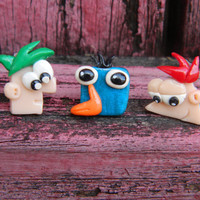 Phineas and Ferb Studs mix and match set of 3