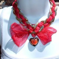 Humor Me Reclaimed hearts bows necklace by spankyluvsvintage2