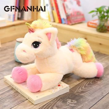 1pc 40cm cartoon lying unicorn plush pillow with colorful tail toys stuffed kawaii animal horse plush toy for kids birthday gift