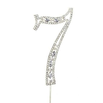 Metal Number Rhinestone Cake Topper, Silver, 3-3/4-Inch, Number 7