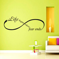 Life begins where fear ends OSHO Quote Yoga Wall Decal Infinity Sign  Vinyl Sticker Wall Decor Home Interior Design Art Mural vk75