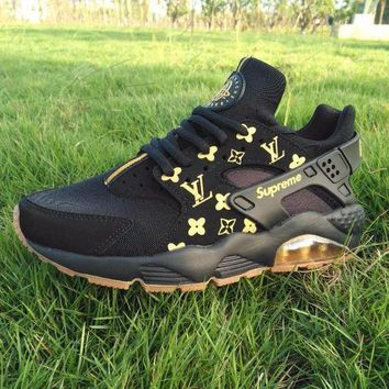 LMFON Best Online Sale LV x Supreme x Nike Air Huarache Black Luminous Sport Running Shoes