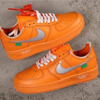 OFF White x Nike Air Force 1 AF1 Low Orange With Silver Logo Sneakers - Best Online Sale