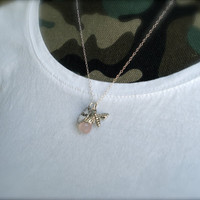 Bee Necklace- Pink necklace- Stamped Necklace- hand stamped-personalized necklace- sterling silver jewelry handmade- Queen Bee