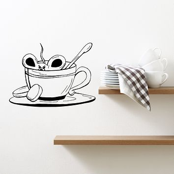 Wall Decal Cup of Coffee Tea Mouse Cafe Kitchen Decor Vinyl Sticker (ed1640)