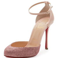 Christian Louboutin Dollyla Glitter & Patent 100mm Red Sole Pump, Poudre