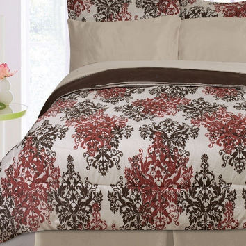 8PC Pearl Taupe/ Chocolate/ Burgundy Reversible Bed Set