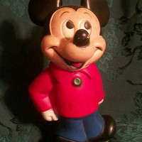 1950s MICKEY MOUSE 11 Inch Tall Coin Bank in Excellent Condition  -  a Disney Mickey Mouse Club Collectable, Disneyana