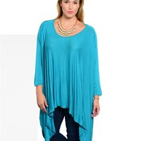Poshed Apparel — Plus Size Long Turquoise High Low Hem Top
