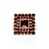 Cocktail Ring GP Sterling with Red Stones by TRRestorations
