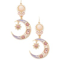Faux Pearl Crescent Drop Earrings