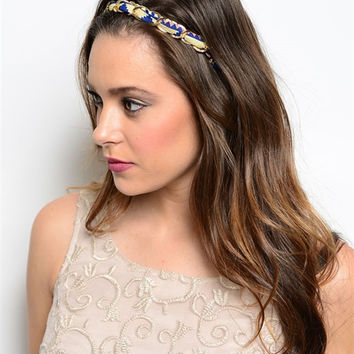 Long Tribal Headband with Chain - No Elastic - Adjustable to Most - 5 Styles