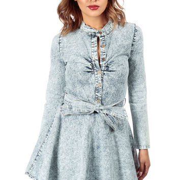 Acid Wash Long Sleeve Denim Belted A Line Dress