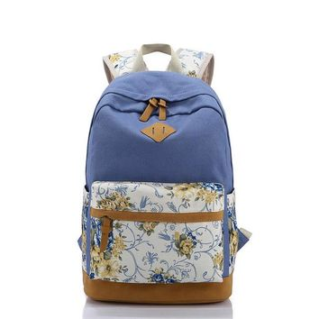 School Backpack Scione Canvas Women School Bag Backpacks for Girls Mochila Escolar Flower Printing Computer Laptop Backpack School Rucksack P112 AT_48_3