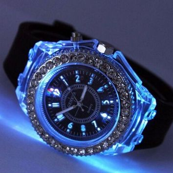 Day-First™ Unique Casual Rhinestone Light up Jelly Watch