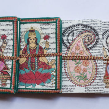 Hindu Art Journal Handmade Paper / Diary / Notebook / Decorated / travel / food / favors / gifts - Hindu culture patterns - Set of 4
