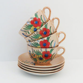 Vintage Japanese floral tan eggshell porcelain teacups tea cups and saucers with red yellow blue flowers - 4 sets - Made in Japan