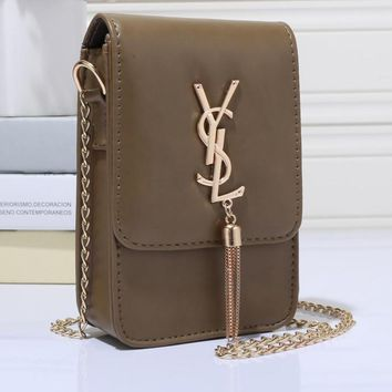 YSL Women Shopping Leather Metal Chain Crossbody Shoulder Bag Satchel-4