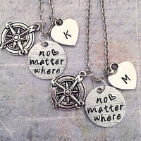 No Matter Where Best Friends Forever Necklaces - Pinky Promise Jewelry - Best Friends Forever Jewelry - Sister Jewelry - Compass Jewelry