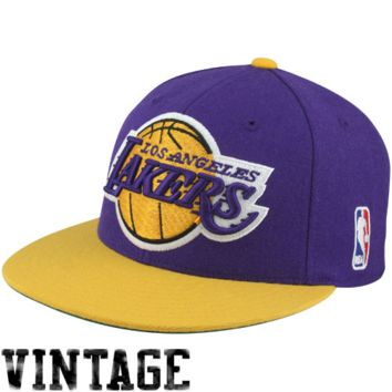 Mitchell & Ness Los Angeles Lakers Hardwood Classics Vintage Logo Two-Toned Fitted Hat - Purple/Gold