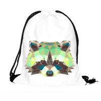 Raccoon String Bag Animal Cinch Bag Cute String Backpack Draw Bag Cinch Sack