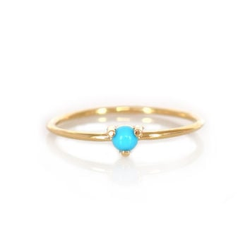 14kt Gold Turquoise Point Ring