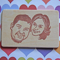 Hand Carved Custom Couple Portrait Stamp -DIY Wedding Stationery, Save the Date, Engagement, Invitations, Thank You Cards-