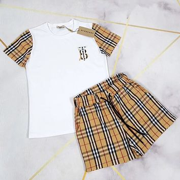 Burberry Woman Casual Simple Wild Fashion Letter Printing Short Sleeve  Two-Piece