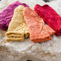 Knit fingerless gloves, lace wool arm warmers / wrist warmers, various colors, spring fashion accessories