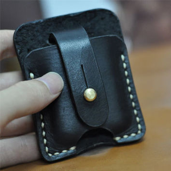 Hand Stitched Vintage Leather Lighter Case Zippo cover Handmade Black Leather ZIPPO holder