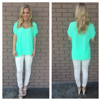 Neon Mint Short Sleeve Blouse