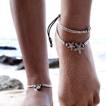 TOMTOSH Summer Beads Pendant Anklet Foot Chain Ankle Starfish Bracelet Charm Double Chain Anklet Beach Vintage Foot Jewelry Gift