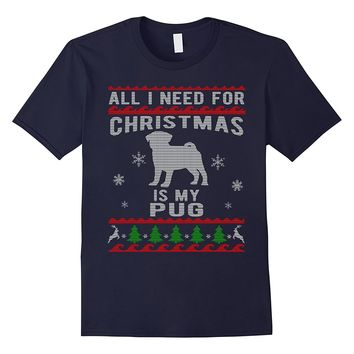 Ugly Christmas Sweater Style Pug Dog Funny T-Shirt
