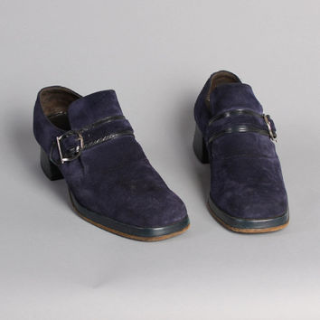 MEN'S 70s PLATFORM Shoes / BLUE Suede Disco Loafers, 8.5