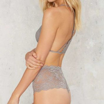 Nasty Gal Stay High Lace Panty - Gray