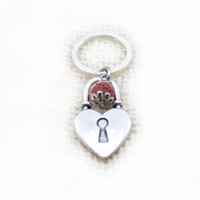 Heart Lock Keychain, Metal Heart Keychain, Red Lave Beaded Keychain