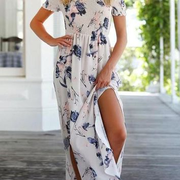 White Floral Print Draped Side Slit Off-shoulder High Waisted Bohemian Maxi Dress