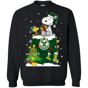 Cover your body with amazing Milwaukee Bucks Ugly Christmas Sweaters Snoopy