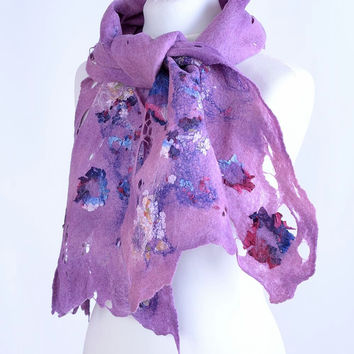 Purple wool nuno felt scarf, hand dyed, with violet silk fabric [S16]