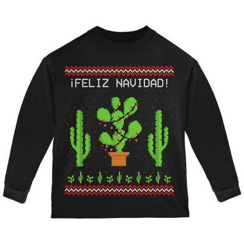 PEAPGQ9 Cactus Desert Feliz Navidad Ugly Christmas Sweater Toddler Long Sleeve T Shirt