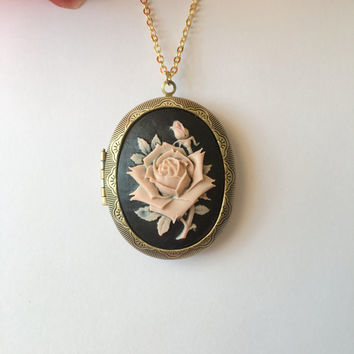 Large Rose Cameo Locket Necklace.
