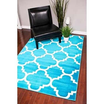 4158 Turquoise Moroccan Lattice Area Rugs