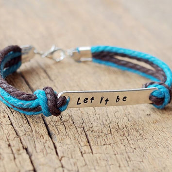 Cotton Rope Bracelet, Engraved letters metal bracelet, brown blue, Personalized bracelets, Best Gift for him Personalized Friendship Jewelry