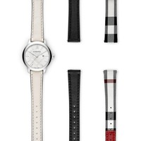 Burberry Check Stamped Leather Strap Watch, 32mm | Nordstrom
