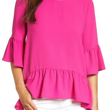 Gibson Ruffled Handkerchief Hem Top (Regular & Petite) | Nordstrom