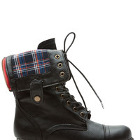 Black Torquoise Faux Leather Plaid Print Fold Over Combat Boots