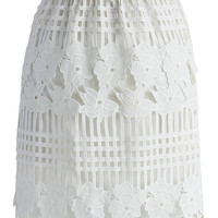 Cheers Crochet Bud Skirt in White  White