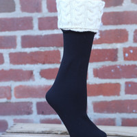 Fleece Lined Boot Liner {Black with Cream Fleece}