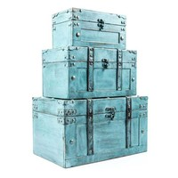 Antique Turquoise Storage Trunk Box Set | Hobby Lobby