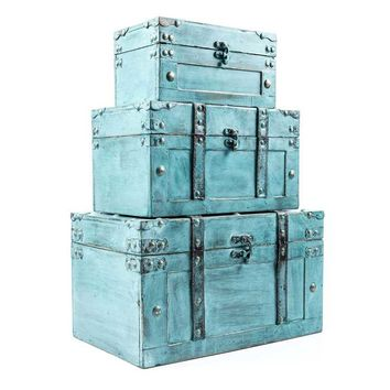 Antique Turquoise Storage Trunk Box Set | Hobby Lobby | 998690